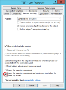 Certificate template settings for strong key protection